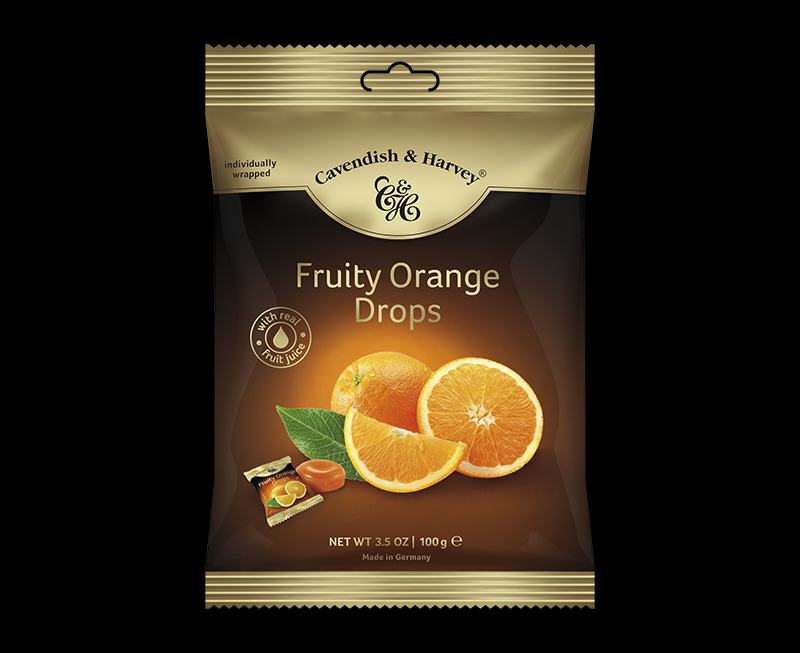 Fruity Orange Drops individually wrapped 100g