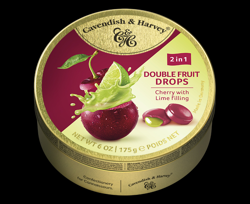 Double Fruit – Cherry Drops filled with Lime 175g